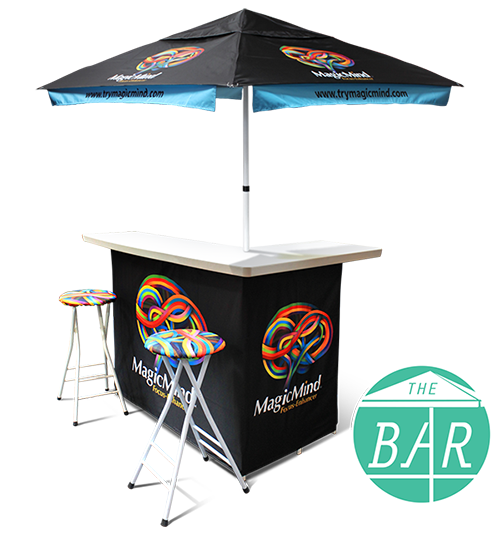 Portable Bar Set W/ 6′ Umbrella and 4 Stools – Fully Printed